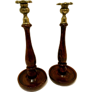 Mahogany and Brass Candle Holders