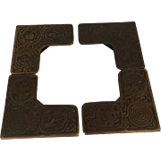 Original Tiffany Studios New York Bronze Zodiac Desk Pieces Blotter Corners #996