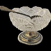 English Sterling Silver and Cut Crystal Salt Dish w/ spoon