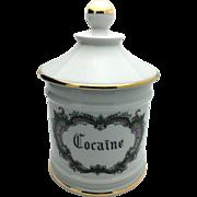 Large French Limoges Porcelain Apothecary Pharmacy Jar Cocaine