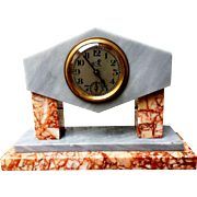 French Art Deco Marble Table Clock w/ working wind up movement
