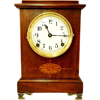 Early 1900s Sessions Mantel Clock. Mahogany inlay w/ porcelain face.