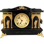Antique mid 1800s Sessions Mantel Clock. Ebonized wood w/ marble and gilt finish