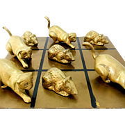 1940s Brass Cat and Mouse Tic Tac Toe Set