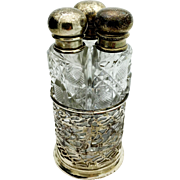 3 Bottle Sterling Silver and Cut Crystal Perfume Bottle Set