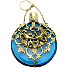 French Chatelaine Scent Perfume Bottle Blue Art Glass w Bronze Metal Lovebird Filigree c 1860