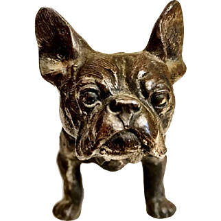 Vintage Cast Metal French Bulldog Figurine
