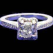 18k White Gold Tacori Dantela Engagement Ring w/ GIA 0.72ct center cushion diamond. 0.97TCW