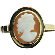 14k Yellow Gold Vintage Shell Cameo Ring