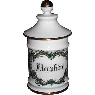 French Limoges Porcelain Apothecary Jar Labelled Morphine Pharmacy Pot France
