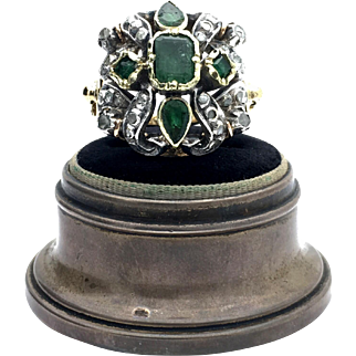 18k/Sterling Victorian Emerald and Old Mine Cut Cocktail Ring. 18.60g
