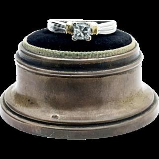 14k White Gold Princess Diamond Solitaire Ring 0.49ct SI-2 H-I Colour