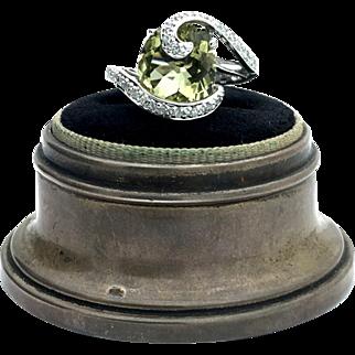 14k Estate White Gold Quartz and Diamond Cocktail Ring