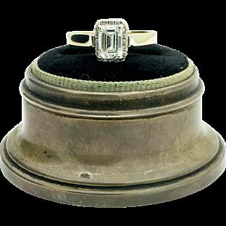 14k Yellow Gold GIA SI-2 G Emerald Diamond Engagement Ring. 1.01TCW.