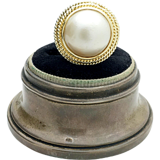 9ct Vintage Yellow Gold Cultured Pearl Mabe Ring