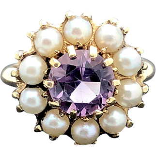 10k Vintage Estate Yellow Gold Amethyst and Pearl Cluster Ring