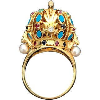 18k Custom Turquoise, Ruby, Sapphire, Emerald, Diamond and Pearl Ring