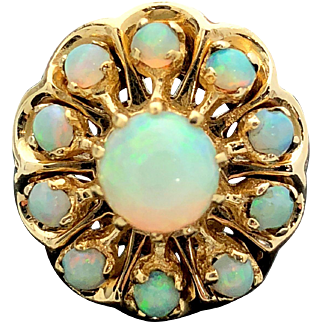 14k Yellow Gold and Opal Cluster Ring 1.30TCW