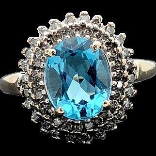 10k Yellow Gold Blue Topaz and Diamond Ring