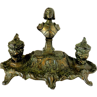Antique French Figural Spelter Inkwell Joan of Arc Signed A. Bossu
