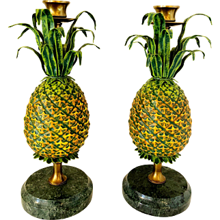 Vintage Mid Century Brass and Marble Pineapple Candle Holders