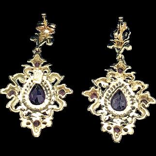 14k Yellow Gold Amethyst, Tourmaline and Diamond Earrings