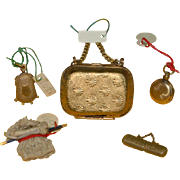 Dollhouse or Dolls Miniatures - Pocket watch, glasses with case, suitcase, knitwear, wallet * 1860-1880