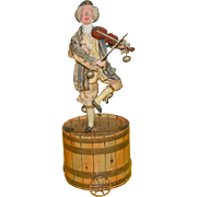Clown playing machine violin on barrel standing * height 14.8 inch * France at 1850-1860