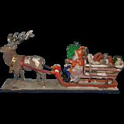 Rare Santa Claus sleigh with toys * drawing toys around 1900