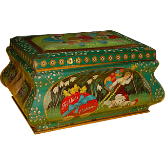 early Tin box Happy Easter for chocolate or biscuits * Tin litho. at 1900