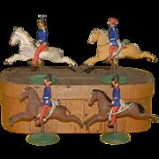 4 Erzgebirge soldiers on rocking spring base - French cavalry around 1840/1850