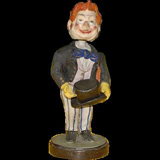 anitque papier-mâché bobble head * Lord Biedermeier clothing * 1850