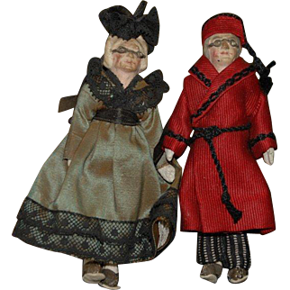 Old dollhouse dolls * Grandparents with original clothing & glasses * german around 1900