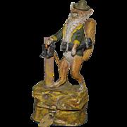 Antique metal cast money box * humanized fox * German hand painted around 1900