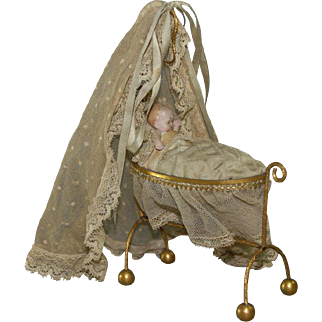 antique Erhard & Söhne unusual baby bed with sky from ormolu * germany at 1880