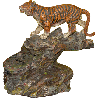Money box * tiger on rocks * metal cast hand-painted at 1900