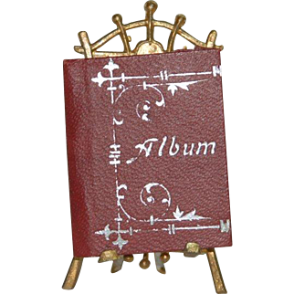 Doll house miniature pictures album with tin stand * rare at 1900-1910