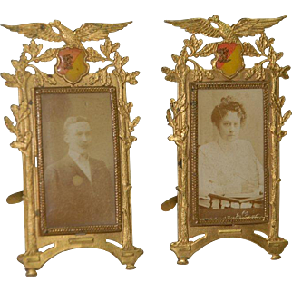 Erhard & Söhne 2 ormolu on putting pictures with eagle & oak leaves * Germany at 1890