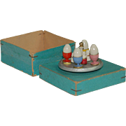 Erzgebirge eggcup set for the doll kitchen or doll house in the box * Germany around 1900-1920