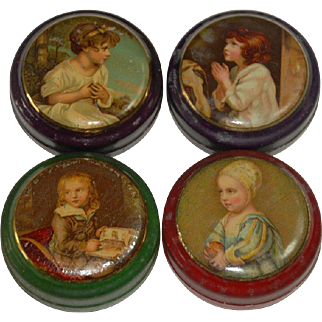 4 small shop miniature tins with child motives * metal litho . * France at 1900