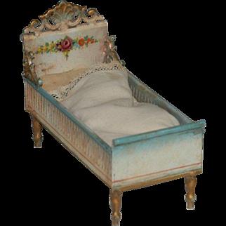 antique rare MÄRKLIN miniature doll house bed made of sheet metal * Germany around 1900
