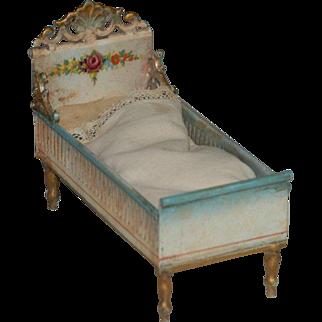 antique rare MÄRKLIN miniature doll house bed made of metal * Germany at 1900