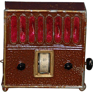 antique doll house radio * metal cast hand-painted * Germany at 1915