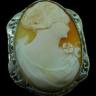 1920'S Profile Cameo Pin- Pendant in 14K white gold