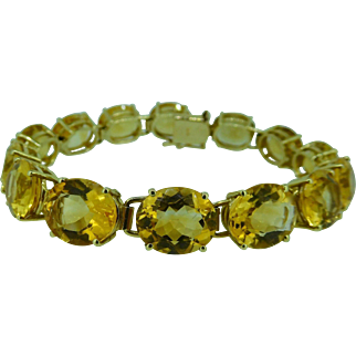 Citrine bracelet in 14K yellow gold , 7 1/2 inches long