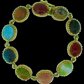 1960's Egyptian Revival scarab link bracelet in 14k gold