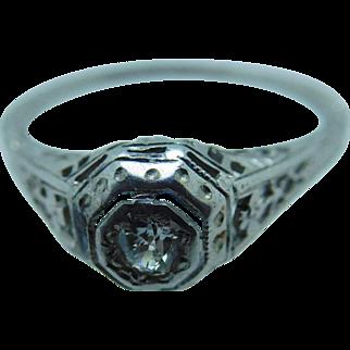 1920's Diamond basket setting ring in 18K white gold