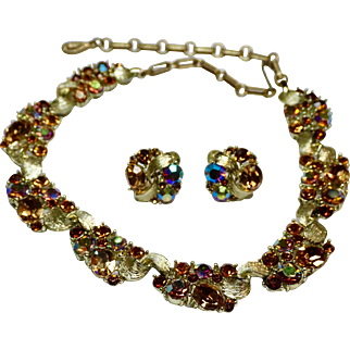 Lisner Cinnamon Rhinestone necklace and earrings