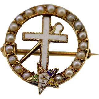 Vintage White Shrine of Jerusalem & Eastern Star pin in 14K