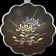 Vintage Japanese Amita damascene sterling silver brooch